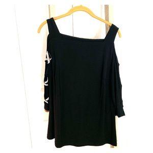 Ladies top with embellished peek-a-boo sleeves
